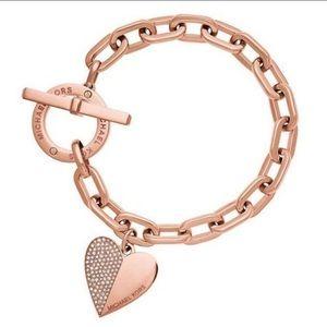 Michael Kors Rose Gold Bracelet Toggle Heart Charm